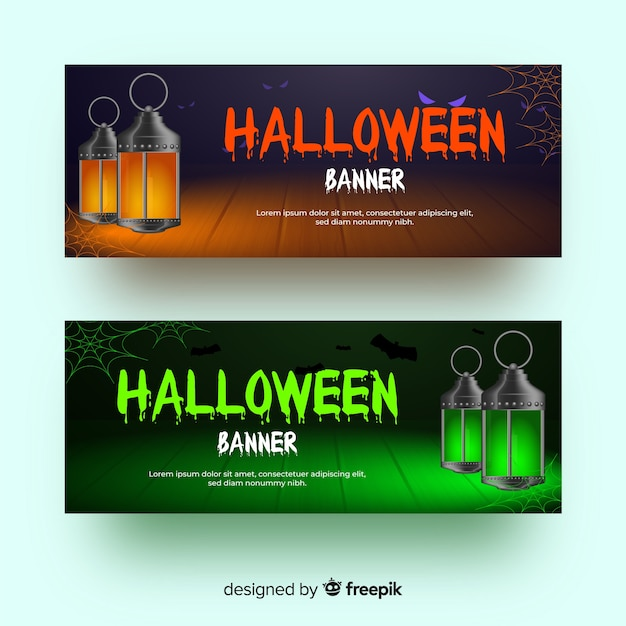 Old fashioned lantern realistic halloween banners Free Vector