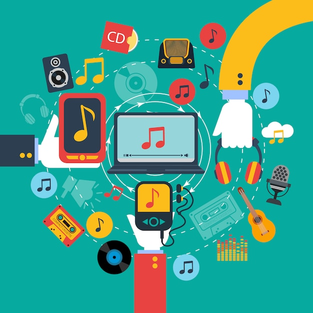 Old fashioned retro music apps poster with 3 hands holding tablets and mobile phone Free Vector