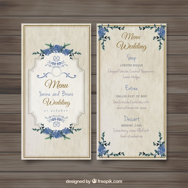 Old Fashioned Wedding Menu Vector  Free Download