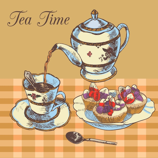 Old-fasioned english tea time restaurant\ country style poster with traditional teapot and cupcakes dessert\ vector illustration