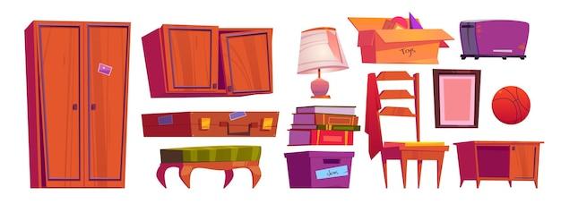 Старая мебель, архивные вещи на чердаке дома или в кладовке. Бесплатные векторы