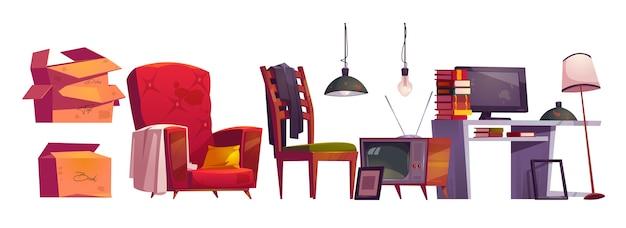 Mobili antichi, magazzino di archivio sulla soffitta della casa. insieme del fumetto di vettore della poltrona vintage, tavolo con libri e monitor, sedia in legno, scatole di cartone, tv e lampade isolati su priorità bassa bianca Vettore gratuito