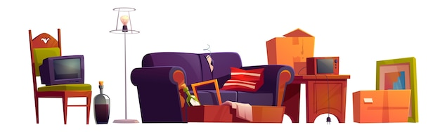 Old furniture, room stuff and alcohol bottles, broken sofa, wooden chair with antique switched-off tv set, carton boxes, retro radio on wood table and floor lamp Free Vector