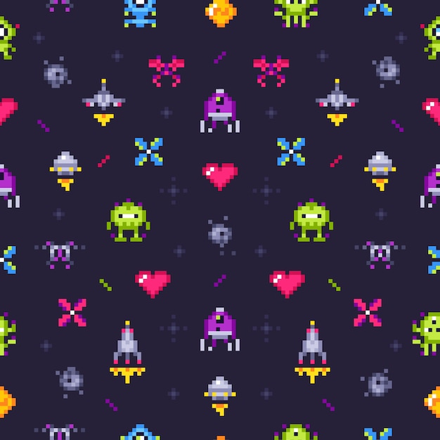 Old games seamless pattern. retro gaming, pixels video game and pixel art arcade Premium Vector