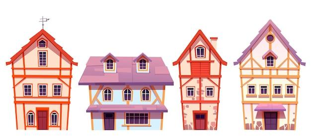 독일 마을의 오래된 골조 주택 무료 벡터
