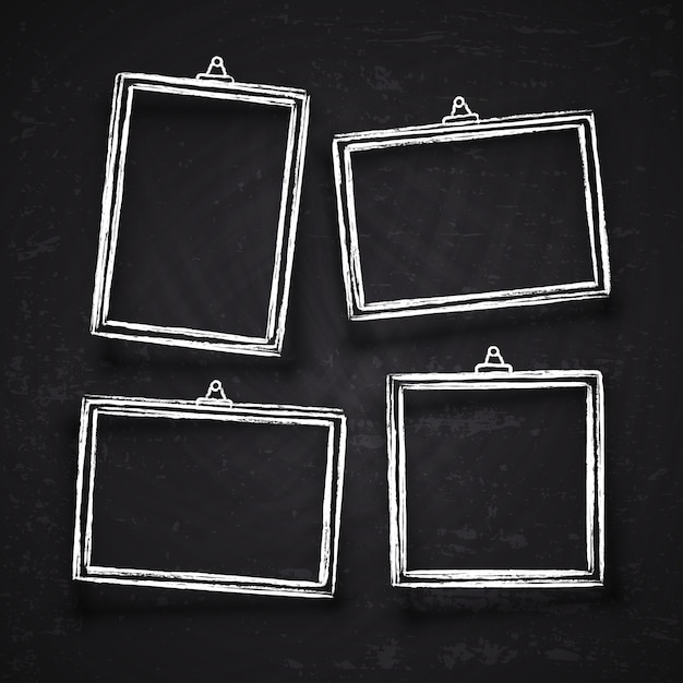 Old hand drawn chalk photo frames, white vintage image borders with shadows isolated on blackboard vector set. chalk frame on blackboard, drawing framework for menu illustration Premium Vector