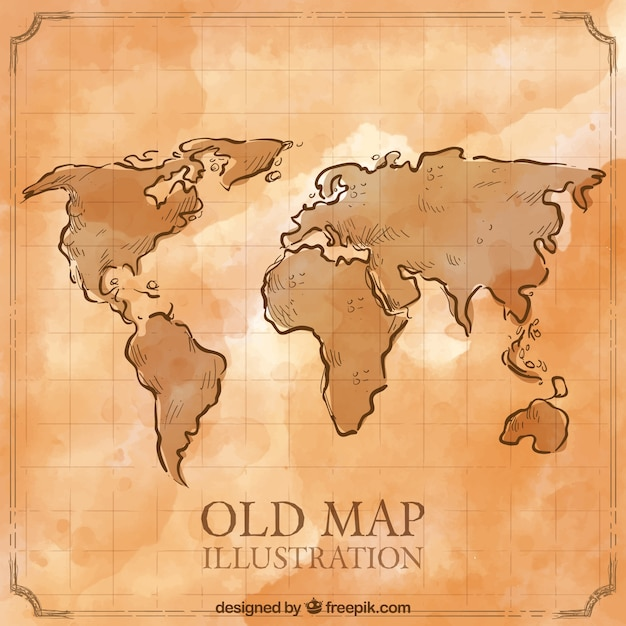 Hand Drawn Map Of The World.Old Hand Drawn World Map Vector Free Download