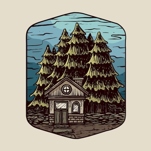 古い家と夜のバッジの木 Premiumベクター