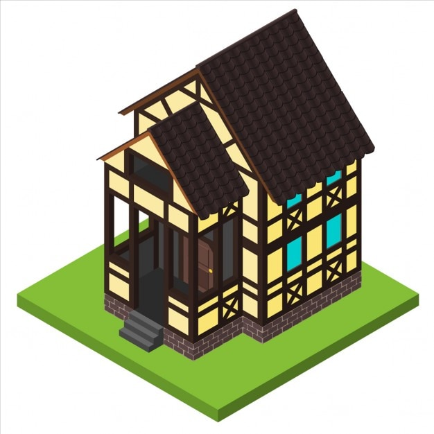 old house  isometric view vector