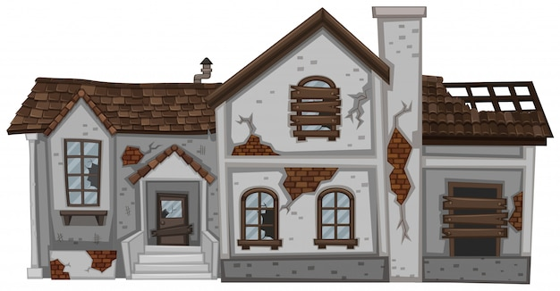 Старый дом с коричневой крышей Бесплатные векторы