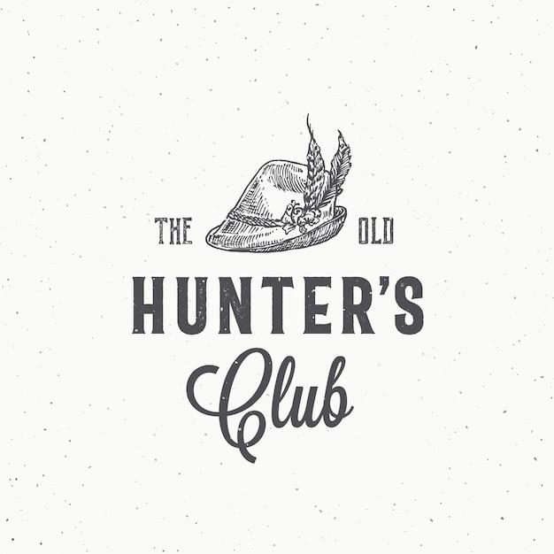 Старый клуб охотников абстрактный знак, символ или шаблон логотипа. Premium векторы