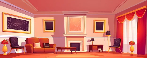 Old luxury living room interior with fireplace Free Vector