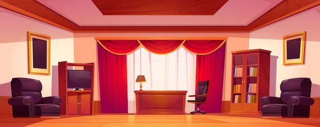 木製の家具と古い高級オフィスインテリア 無料ベクター