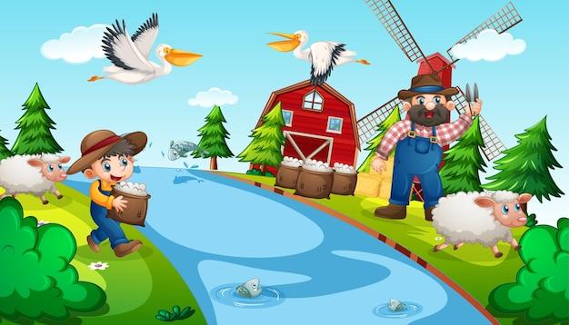 動物のいる農場の老人と子供 無料ベクター