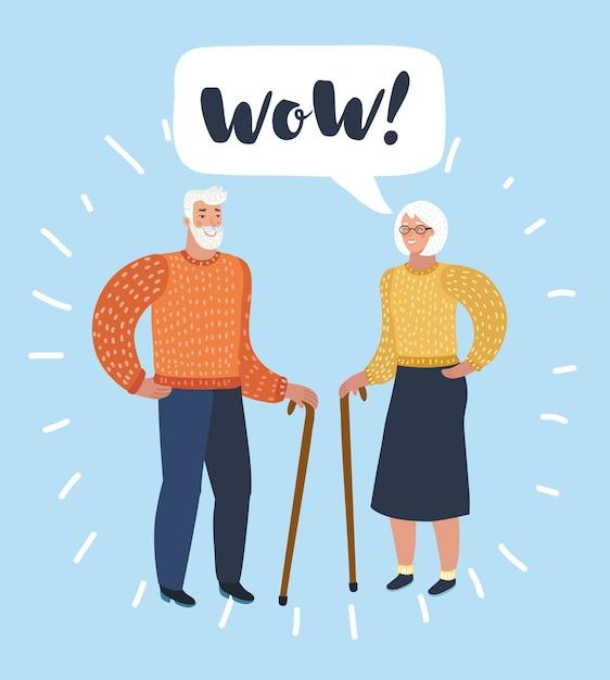 老人と老婦人の話。配偶者や友人の話。図 Premiumベクター