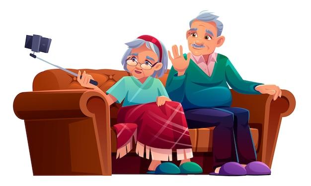 Старик и женщина делают селфи на смартфоне с монопод. Бесплатные векторы