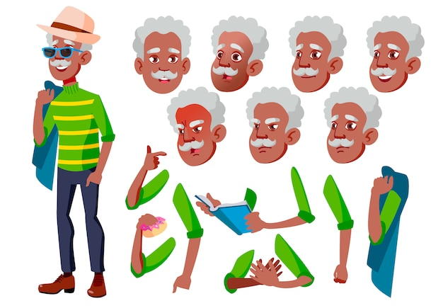 Old man character. african. creation constructor for animation. face emotions, hands. Premium Vector