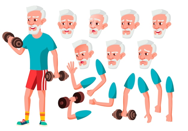 Old man character. european. creation constructor for animation. face emotions, hands. Premium Vector