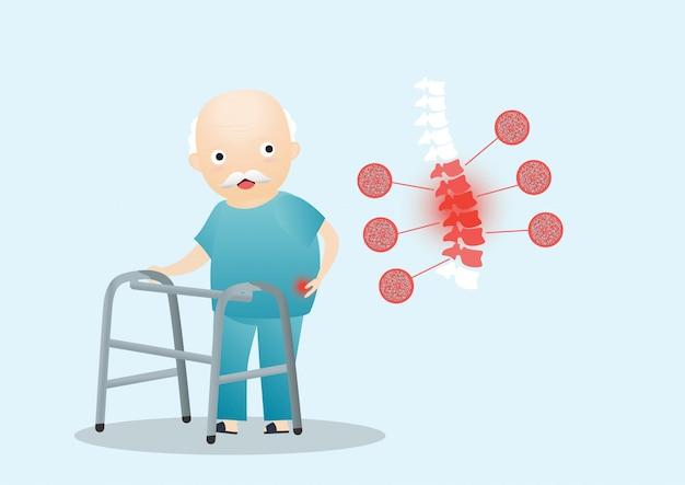 Old man osteoporosis . Premium Vector