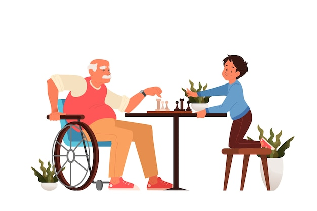 Old man play chess with his grandson. peope sitting at the table with chessboard. chess tournament between old and young boy. Premium Vector