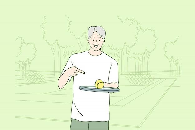 老人はテニスの概念を再生します。 Premiumベクター