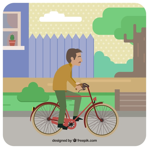 Old man riding bike with flat design Free Vector