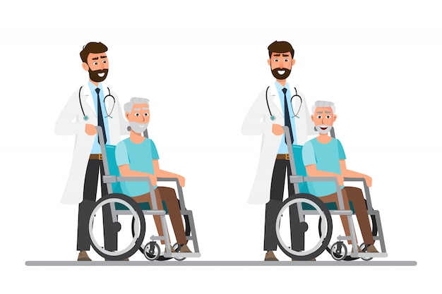 Old man sit on a wheelchair with doctor take care Premium Vector
