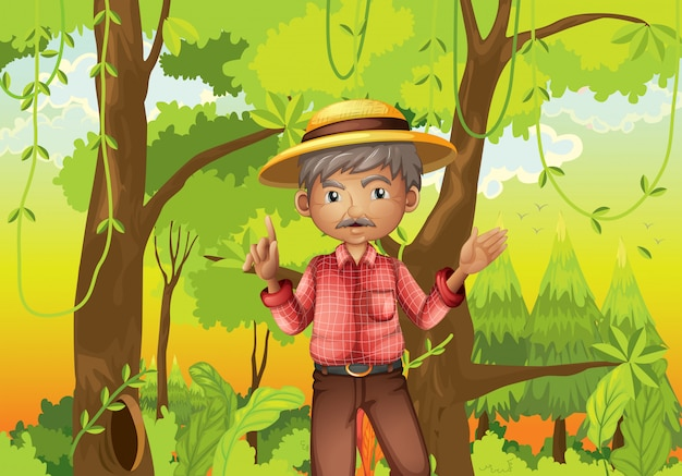 An old man standing in the middle of the forest Free Vector