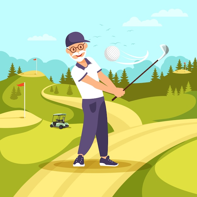 Old man in uniform playing golf with club and ball Premium Vector