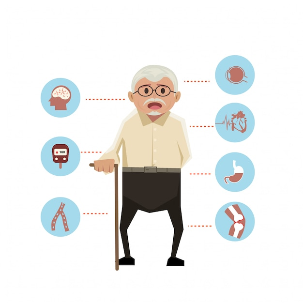 Old man with disease icons Premium Vector