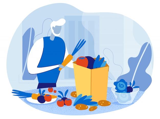 食料品の袋を持つ老人いっぱい健康食品 Premiumベクター