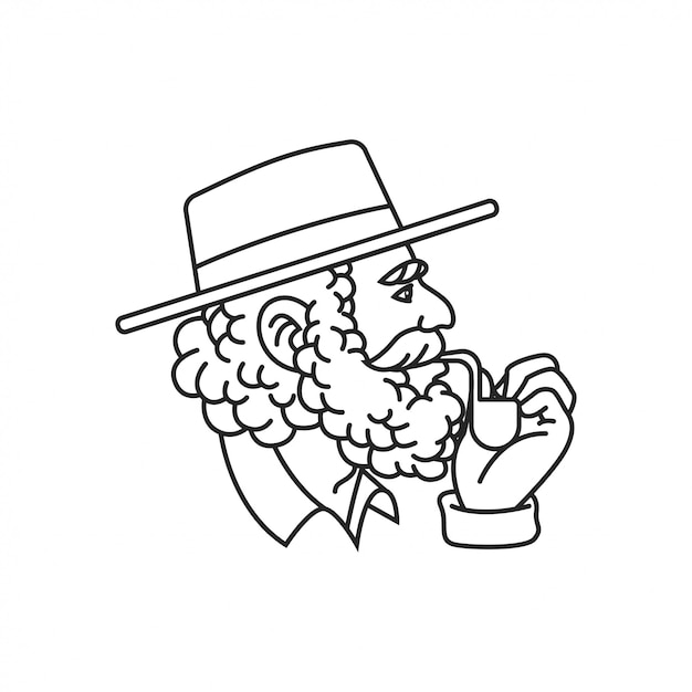 Old Man With Pipe Cigar Vector