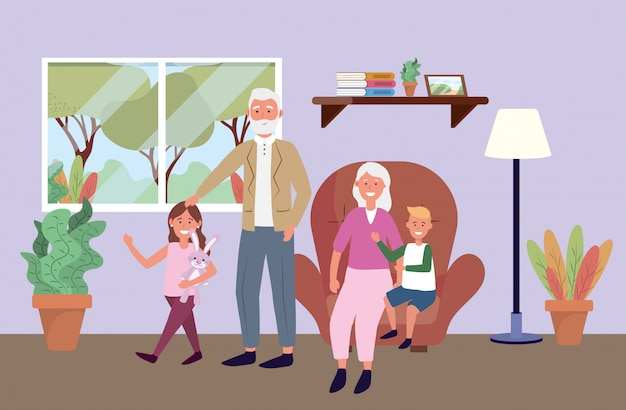 Old man and woman with kids and plants Free Vector