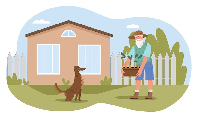 Старик, работающий в саду дома фермы иллюстрации. Premium векторы