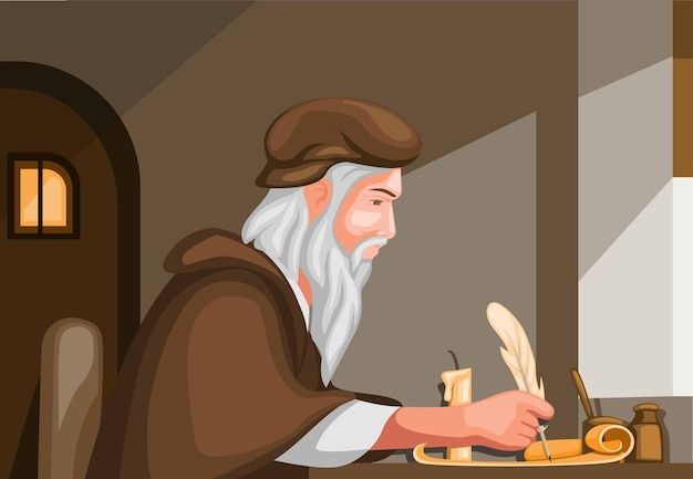 Old man writing with feather pen scroll paper, biography history scene Premium Vector