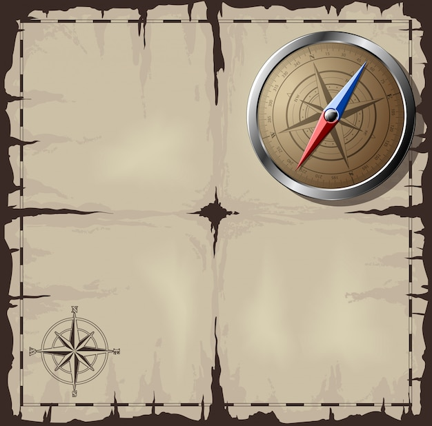 Old map with steel compass Premium Vector