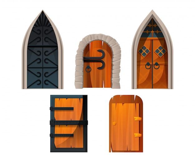 Двери и ворота старого средневекового замка Бесплатные векторы