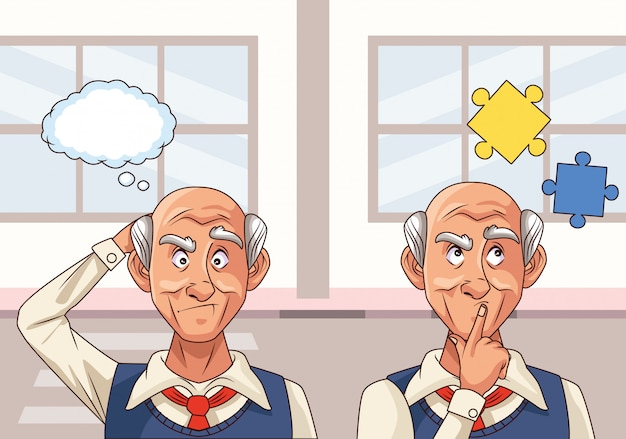Old men patients of alzheimer disease with puzzle pieces Premium Vector