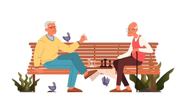 Old men play chess. elderly peope sitting on park bench with chessboard. chess tournament between two old men. Premium Vector