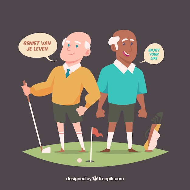 Old men speaking different languages with flat design Free Vector