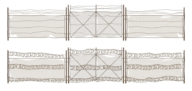 Старый металлический забор звено цепи с воротами и колючей проволокой Бесплатные векторы