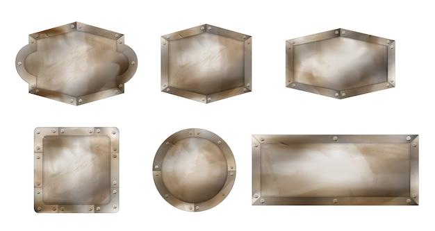 Старые металлические знаки разной формы, ржавые доски со стальным каркасом и винтами. Бесплатные векторы