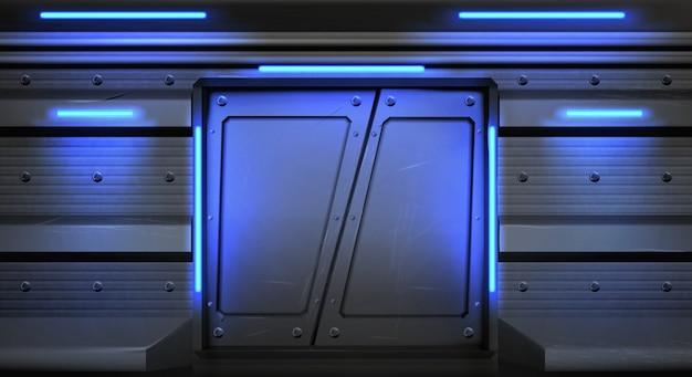 Старые металлические раздвижные двери с горящими неоновыми лампами в космическом корабле, подводной лодке или лаборатории. Бесплатные векторы