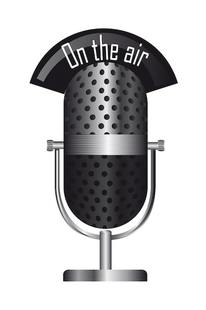 Old microphone Premium Vector