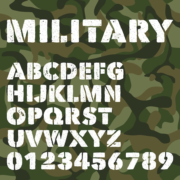 Old military alphabet, bold letters and numbers on army green camouflage Premium Vector