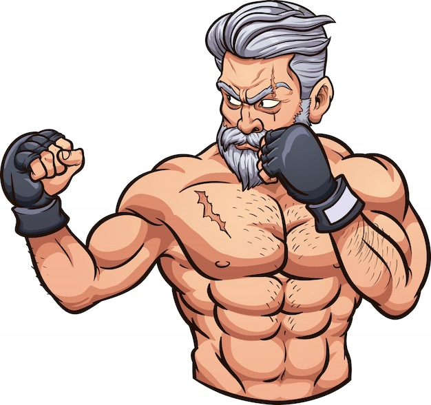 Old mma fighter Premium Vector