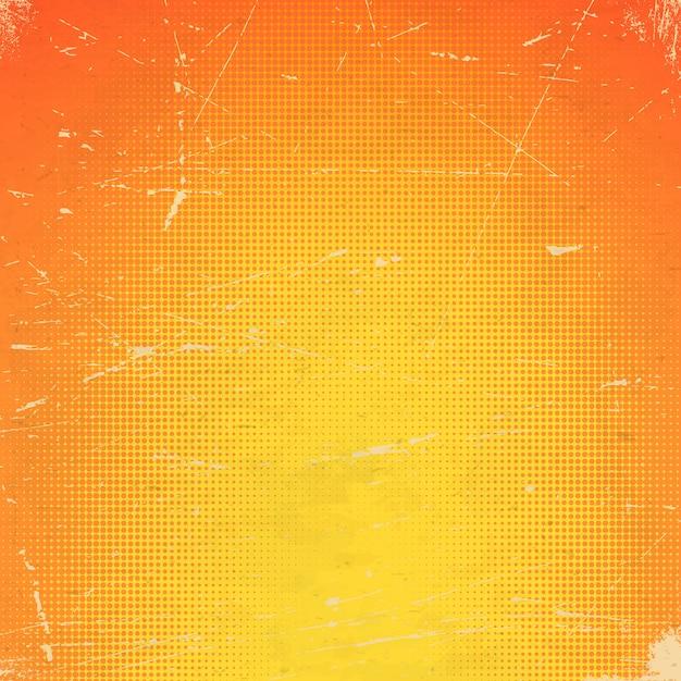 ハーフトーングラデーションで古いオレンジ色の傷カード Premiumベクター