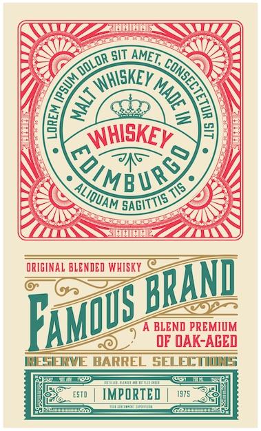 ウイスキーの古い華やかなラベルデザイン。 Premiumベクター