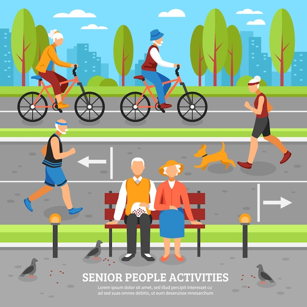 Old people activities background Free Vector