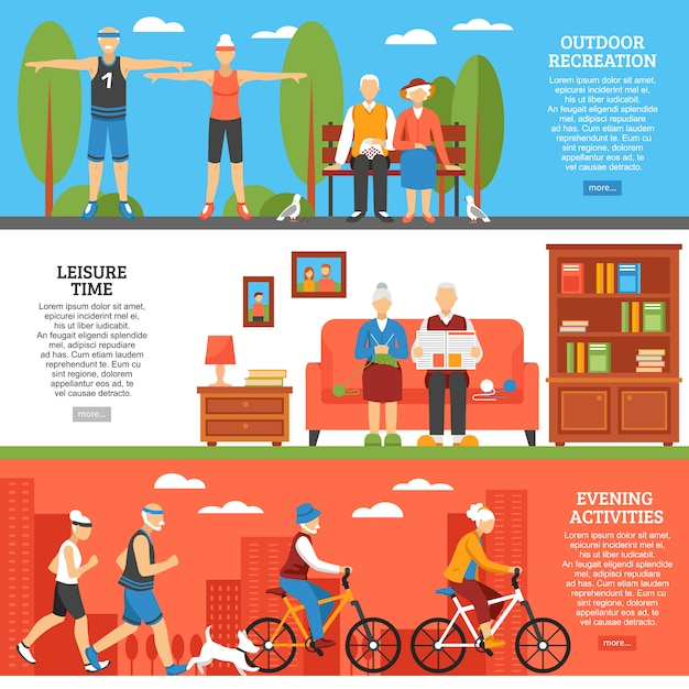 Old people activities banners Free Vector
